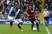 Birmingham City midfielder Jacques Maghoma  tracks Queens Park Rangers midfielder Massimo Luongo during the Sky Bet Championship match between Birmingham City and Queens Park Rangers at St Andrews, Birmingham, England on 17 October 2015. Photo by Alan Franklin.