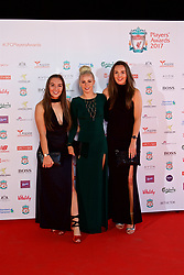 LIVERPOOL, ENGLAND - Tuesday, May 9, 2017: Liverpool Ladies players Katie Zelem, Alex Greenwood and xxxx arrive on the red carpet for the Liverpool FC Players' Awards 2017 at Anfield. (Pic by David Rawcliffe/Propaganda)