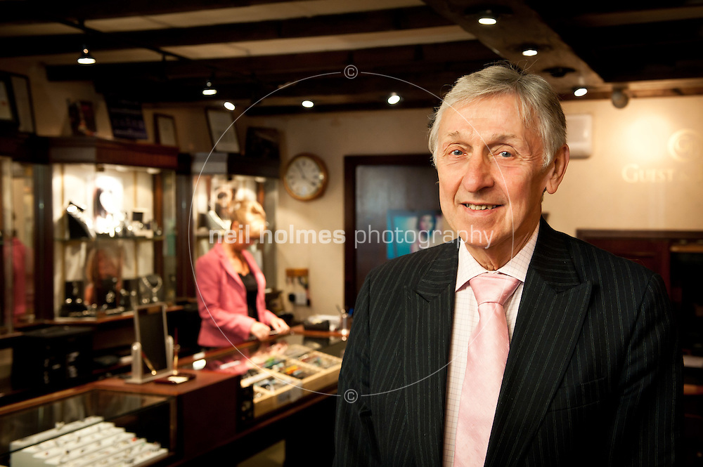 Michael Guest - long standing retailer, runs Guest & Philips Jewellers, Saturday Market, Beverley, He's celebrated 60 years in the retail trade this year and set up his jewellery shop in 1966. His wife Anne, and children Philip and Karen, are all in the business. And one member of staff, Christine Kirkup (in the background), celebrated 40 years serving in the shop this year.
