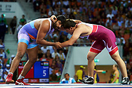 Ashgabat, Turkmenistan - 2017 September 25:<br /> Wrestling competition during 2017 Ashgabat 5th Asian Indoor & Martial Arts Games at Main Indoor Arena (MIA) at Ashgabat Olympic Complex on September 25, 2017 in Ashgabat, Turkmenistan.<br /> <br /> Photo by © Adam Nurkiewicz / Laurel Photo Services