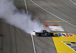 March 1, 2019 - Las Vegas, NV, U.S. - LAS VEGAS, NV - MARCH 01: Sheldon Creed (2) Gallagher Motor Sports (GMS) Chevrolet Silverado spins at exit of turn 4 during the NASCAR Gander Outdoors Truck Series Strat 200 on March 01, 2019, at Las Vegas Motor Speedway in Las Vegas, NV. (Photo by Chris Williams/Icon Sportswire) (Credit Image: © Chris Williams/Icon SMI via ZUMA Press)
