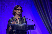 HRH Princess Dr. Nisreen El-Hashemite, executive director of the Royal Academy of Science International Trust (RASIT), medical doctor, geneticist and humanitarian, accepts the Muhammad Ali Humanitarian of the Year Award as Lonnie Ali, widow of Muhammad Ali and Co-Founder of the Muhammad Ali Center, right, looks on at the fifth annual Muhammad Ali Humanitarian Awards Saturday, Sept. 23, 2017, at the Marriott Louisville Downtown in Louisville, Ky. (Photo by Brian Bohannon/Invision for Muhammad Ali Center/AP Images)