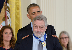 US President Barack Obama presents comedian Robert De Niro with the Presidential Medal of Freedom, the nation's highest civilian honor, during a ceremony honoring 21 recipients, in the East Room of the White House in Washington, DC, November 22, 2016. Photo by Olivier Douliery/ABACA