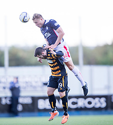Falkirk's Peter Grant over Alloa Athletic's Liam Buchanan.<br /> half time : Falkirk 1 v 1 Alloa Athletic, Scottish Championship game played 4/10/2014 at The Falkirk Stadium.