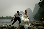 Chinese newlyweds on vacation in Yangshuo China