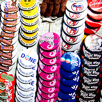 TAMPA, FL -- September 2, 2011 -- Buttons hang for sale as Republican presidential candidate, former Massachusetts Gov. Mitt Romney, greets staff and supporters at his new campaign headquarters in downtown Tampa, Fla., on Friday ,September 2, 2011 .