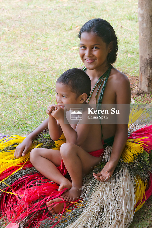 Yapese girl and boy in traditional clothing, Yap Island, Federated States of Micronesia