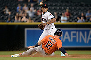 PHOENIX, AZ - AUGUST 15:  Ketel Marte #4 of the Arizona Diamondbacks turns the double play over the sliding Max Stassi #12 of the Houston Astros in the seventh inning at Chase Field on August 15, 2017 in Phoenix, Arizona.  (Photo by Jennifer Stewart/Getty Images)