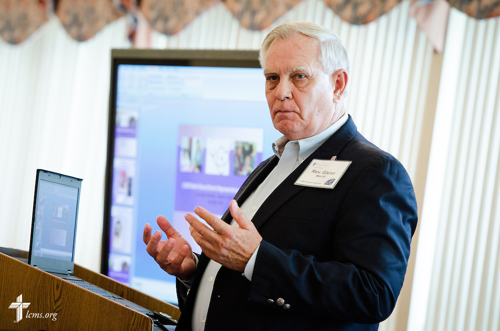 The Rev. Glenn Merritt, outgoing director of LCMS Disaster Response, gives a presentation during the LCMS Parish Nurse District Representatives Meeting at Concordia University Wisconsin in Mequon, Wis., on Tuesday, May 27, 2014. LCMS Communications/Erik M. Lunsford