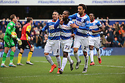 Queens Park Rangers midfielder, (David Hoilett) Junior Hoilett (23) celebrating scoring penalty and second goal of the game during the Sky Bet Championship match between Queens Park Rangers and Birmingham City at the Loftus Road Stadium, London, England on 27 February 2016. Photo by Matthew Redman.