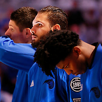 28 October 2015: Orlando Magic guard Evan Fournier (10) is seen during the national anthem prior to the Washington Wizards 88-87 victory over the Orlando Magic, at the Amway Center, in Orlando, Florida, USA.