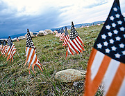9-11 memorial on top of mountain west of Buffalo, Wyoming.