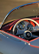Image of a custom silver sports car dashboard, 1958 Porsche 356 Speedster in Washington state, Pacific Northwest, property released