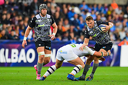 Ospreys' Dan Biggar is tackled by Clermont Auvergne's Rabah Slimani - Mandatory by-line: Craig Thomas/JMP - 15/10/2017 - RUGBY - Liberty Stadium - Swansea, Wales - Ospreys Rugby v Clermont Auvergne - European Rugby Champions Cup
