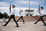Changing of the Guard at the national flagpole in Ala-Too Square, Bishkek, Kyrgyzstan