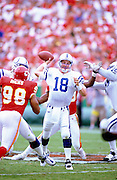 KANSAS CITY, MO - SEPTEMBER 3: Peyton Manning #18 of the Indianapolis Colts looks to pass the football against the Kansas City Chiefs at Arrowhead Stadium on September 3, 2000 in Kansas City, Missouri. The Colts defeated the Chiefs 27-14. (Photo by Joe Robbins) *** Local Caption *** Peyton Manning