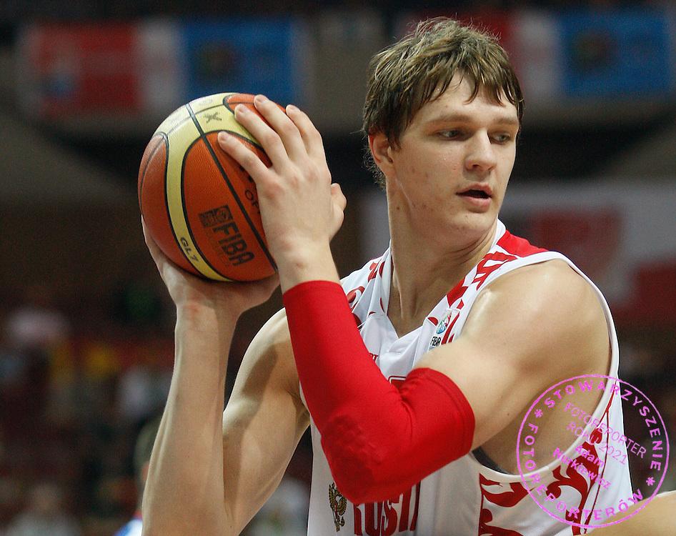 Katowice 17/09/2009.EuroBasket 2009.Quarterfinal.Russia v Serbia.Timofey Mozgov of Russia ..Photo by : Piotr Hawalej / WROFOTO