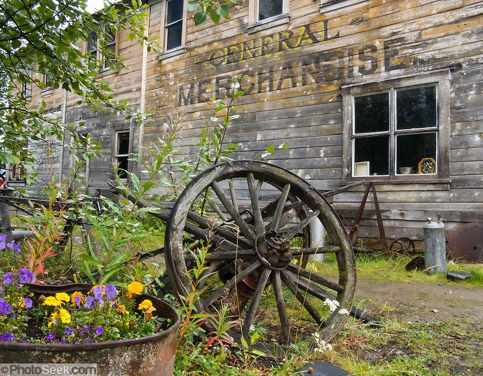 "A flower bed and old wooden wheel rest by the old Watsjold Groceries & Meat building labeled GENERAL MERCHANDISE in historic McCarthy, Alaska, USA. McCarthy and nearby Kennecott Mines National Historic Landmark are nestled under the glacier-clad Wrangell Mountains within Wrangell-St. Elias National Park and Preserve. Old mine buildings, artifacts, and colorful history attract summer visitors. Remote McCarthy is connected to Chitina via the McCarthy Road spur of the Edgerton Highway. At the east end of McCarthy Road, visitors must park their vehicle and walk across the footbridge to McCarthy. From McCarthy, a privately-operated shuttle takes visitors 5 miles to Kennecott. After copper was discovered between the Kennicott Glacier and McCarthy Creek in 1900, the Kennecott town, mines, and Kennecott Mining Company were created and named after the adjacent glacier. Kennicott Glacier and River had previously been named after Robert Kennicott, a naturalist who explored in Alaska in the mid-1800s. The corporation and town stuck with a mistaken spelling of ""Kennecott"" with an e (instead of ""Kennicott"" with an i). Partly because alcoholic beverages and prostitution were forbidden in the company town of Kennecott, the neighboring town of McCarthy grew quickly to provide a bar, brothel, gymnasium, hospital, and school. The Copper River and Northwestern Railway reached McCarthy in 1911 to haul over 200 million dollars worth of ore 196 miles to the port of Cordova on Prince William Sound. By 1938, the worlds richest concentration of copper ore was mostly gone, the town was mostly abandoned, and railroad service ended. Not until the 1970s did the area began to draw young people for adventure and the big money of the Trans Alaska Pipeline project. Declaration of Wrangell-St. Elias National Park in 1980 drew adventurous tourists who helped revive McCarthy with demand for needed services. Wrangell-St. Elias National Park and Preserve is the largest National Park in the USA."