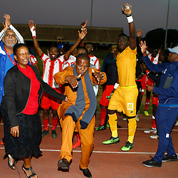 Maritzburg United celebrates retaining their PSL status during the Premier Soccer League (PSL) promotion play-off  match between  Royal Eagles and Maritzburg United F.C. at the Chatsworth Stadium Durban.South Africa,29,05,2019