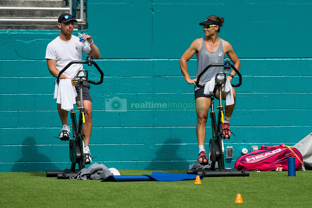 March 18, 2019 - Miami Gardens, FL, U.S. - MIAMI GARDENS, FL - MARCH 18: Samantha Stosur (AUS) riding an exercise bike during the Miami Open on March 18, 2019 at Hard Rock Stadium in Miami Gardens, FL. (Photo by Aaron Gilbert/Icon Sportswire) (Credit Image: © Aaron Gilbert/Icon SMI via ZUMA Press)