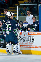 KELOWNA, CANADA - APRIL 3: Taran Kozun #35 of the Seattle Thunderbirds stands at the bench against the Kelowna Rockets on April 3, 2014 during Game 1 of the second round of WHL Playoffs at Prospera Place in Kelowna, British Columbia, Canada.   (Photo by Marissa Baecker/Getty Images)  *** Local Caption *** Taran Kozun;
