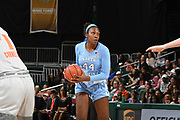 January 20, 2019: Janelle Bailey #44 of North Carolina in action during the NCAA basketball game between the Miami Hurricanes and the North Carolina Tar Heels in Coral Gables, Florida. The 'Canes defeated the Tar Heels 76-68.