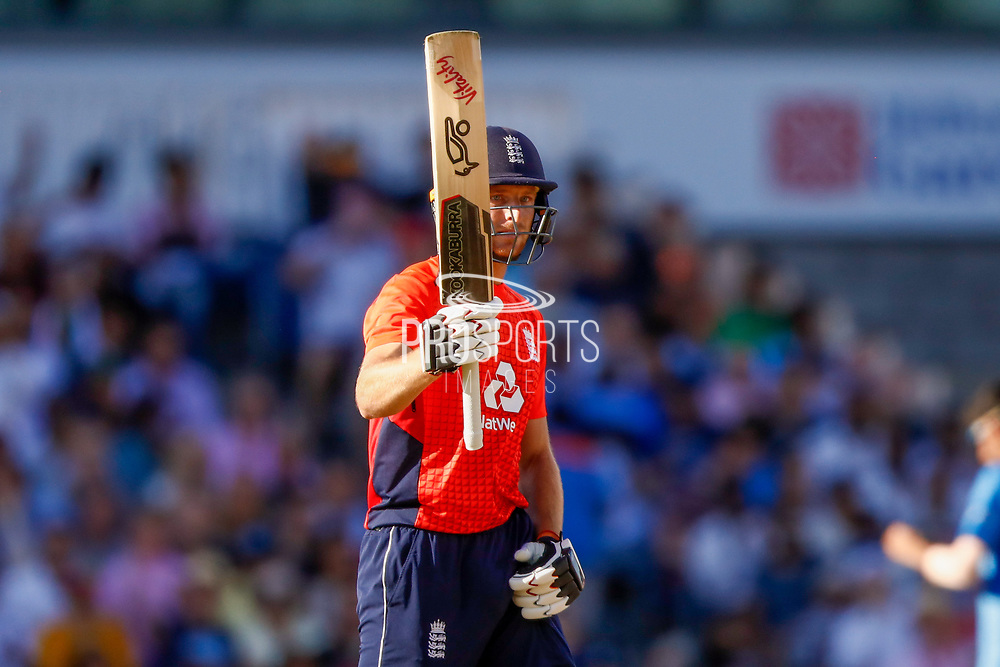 England T20 wicket keeper Jos Butler with is 50 half century during the International T20 match between England and India at Old Trafford, Manchester, England on 3 July 2018. Picture by Simon Davies.