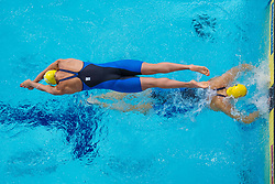 August 6, 2018 - Glasgow, UNITED KINGDOM - 180806 Magdalena Kuras and Louise Hansson of Sweden competes in the qualification of mixed 4x100 meter medley relay swimming during the European Championships on August 6, 2018 in Glasgow..Photo: Joel Marklund / BILDBYRN / kod JM / 87769 (Credit Image: © Joel Marklund/Bildbyran via ZUMA Press)