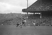 Kerry and Down both jump high for the ball during the All Ireland Senior Gaelic Football Final Kerry v Down in Croke Park on the 22nd September 1968. Down 2-12 Kerry 1-13.