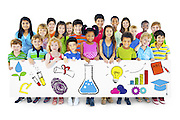 Group of Children Holding Education Concept Billboard
