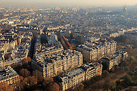 Looking down over Paris, France from the top of the Eiffel Tower.