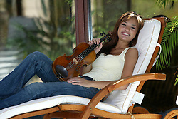 16 year old Nicola Benedetti wins the BBC Young Musician of the Year in 2004. Pictured at home in West Kilbride, 3/05/2004..Pic ©2010 Michael Schofield. All Rights Reserved.