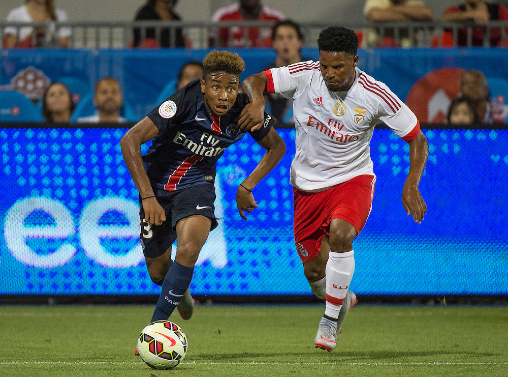 Paris St. Germain's Christopher Nkunku and SL Benfica's Eliseu in the International Champions Cup in Toronto.