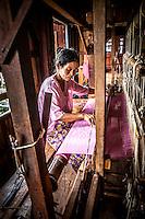 Lotus silk making on Inle Lake, Burma.