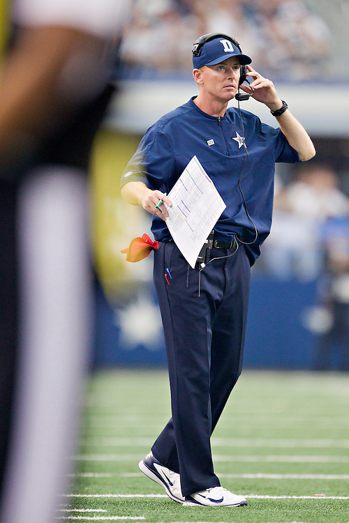 DALLAS, TX - SEPTEMBER 23:  Head Coach Jason Garrett of the Dallas Cowboys on the field during a game against the Tampa Bay Buccaneers at Cowboys Stadium on September 23, 2012 in Dallas, Texas.  The Cowboys defeated the Buccaneers 16-10.  (Photo by Wesley Hitt/Getty Images) *** Local Caption *** Jason Garrett