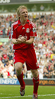 Photo: Aidan Ellis.<br /> Liverpool v Wigan Athletic. The Barclays Premiership. 21/04/2007.<br /> Liverpool's Dirk kuyt celebrates scoring the first goal
