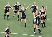 The Omaha Skutt SkyHawks celebrate after defeating Columbus Scotus 3-0 in the Class B girls state final. Omaha Skutt played Columbus Scotus in the Class B girls Nebraska state soccer championship at Morrison Stadium on Wednesday, May 17, 2017, in Omaha.<br /> <br /> MATT DIXON/THE WORLD-HERALD