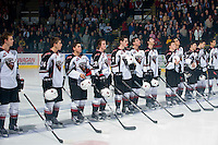 KELOWNA, CANADA, OCTOBER 1: The Vancouver Giants observe a moment of silence on the ice against the Kelowna Rockets for fallen former WHL coach Brad McKrimmon on October 1, 2011 at Prospera Place in Kelowna, British Columbia, Canada (Photo by Marissa Baecker/Getty Images) *** Local Caption ***