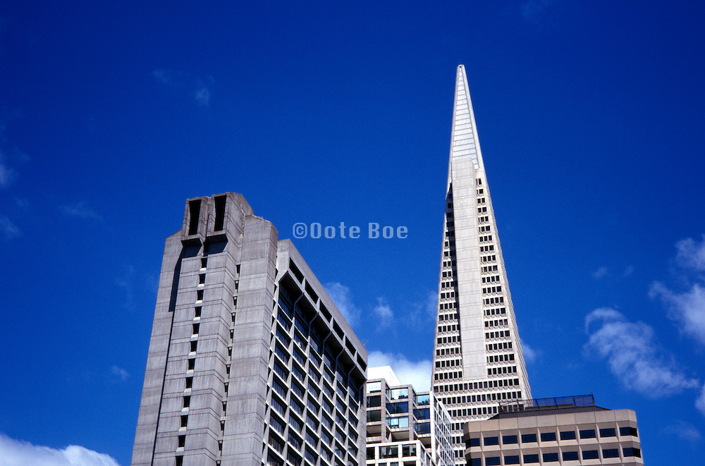 view from below of office buildings Transamerica San Francisco.