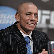 "NEW YORK, NEW YORK, MARCH 24, 2010; UFC welterweight champion Georges St. Pierre is pictured on stage during the pre-fight press conference for ""UFC 111: St. Pierre vs. Hardy"" inside Radio City Music Hall in New York City"