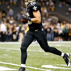 Dec 29, 2013; New Orleans, LA, USA; New Orleans Saints wide receiver Lance Moore (16) against the Tampa Bay Buccaneers prior to kickoff of a game at the Mercedes-Benz Superdome. Mandatory Credit: Derick E. Hingle-USA TODAY Sports