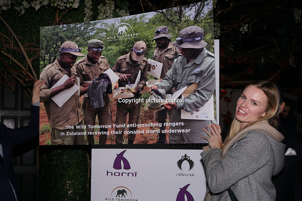 Speaker of the Wild Tomorrow Fund at the Hornï Underwear for London Launch Party to support global rhino conservation fundraising on 8 Feb 2018 at Cuckoo Club in London, UK.