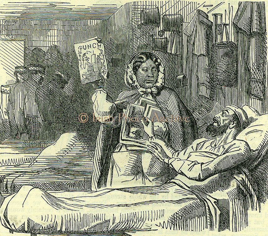 Our Own Vivandiere': A plea for support for Mary Jane Seacoal (1805-1881) who, at her own expense, in 1855 went to the Crimea to nurse and care for the sick and wounded, and who was now poverty-stricken. From 'Punch',  London, 30 May 1857.