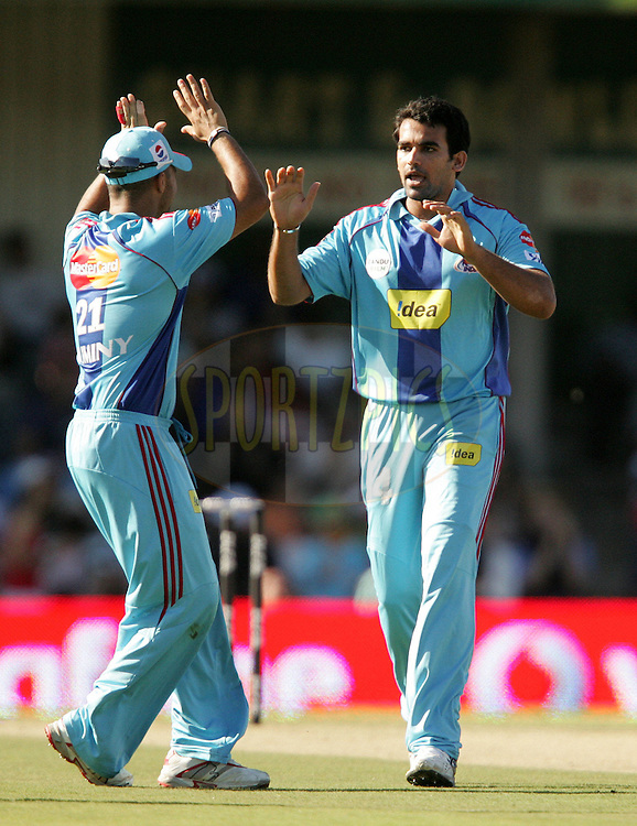 EAST LONDON, SOUTH AFRICA - 1 May 2009. Zaheer Khan celebrates the wicket of Chris Gayle during the  IPL Season 2 match between the Mumbai Indians and the Kolkata Knight Riders held at Buffalo Park in East London. South Africa..