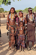 Africa, Ethiopia, Omo valley, women and children of the Arbore (or Erbore) tribe