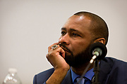 """Former Madison Police Chief Noble Wray considers a point on the panel """"Moving past the fear — How to talk about race in all of your spaces"""" at the Cap Times 2017 Idea Fest, Saturday, September 16, 2017"""