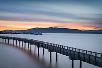 Taylor Dock Boardwalk at sunset, Boulevard Park Bellingham Washington
