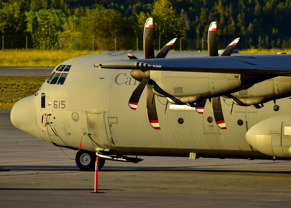 An RCAF CC-130J catches the Yukon sunset light