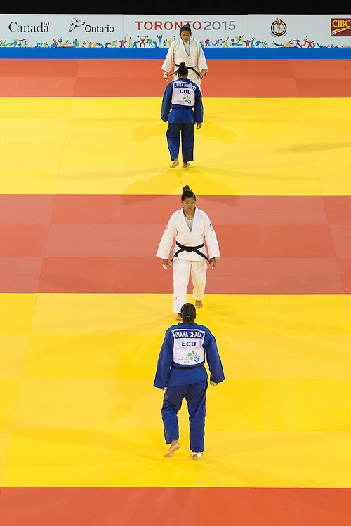 Competitors take to the mats for the start of the final day of the judo competition at the 2015 Pan American Games in Toronto, Canada, July 14,  2015.  AFP PHOTO/GEOFF ROBINS