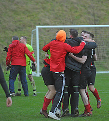 Westport United players celebrate at fulltime after their Rd 6 FAI Junior Cup win over Usher United on sunday last.<br />